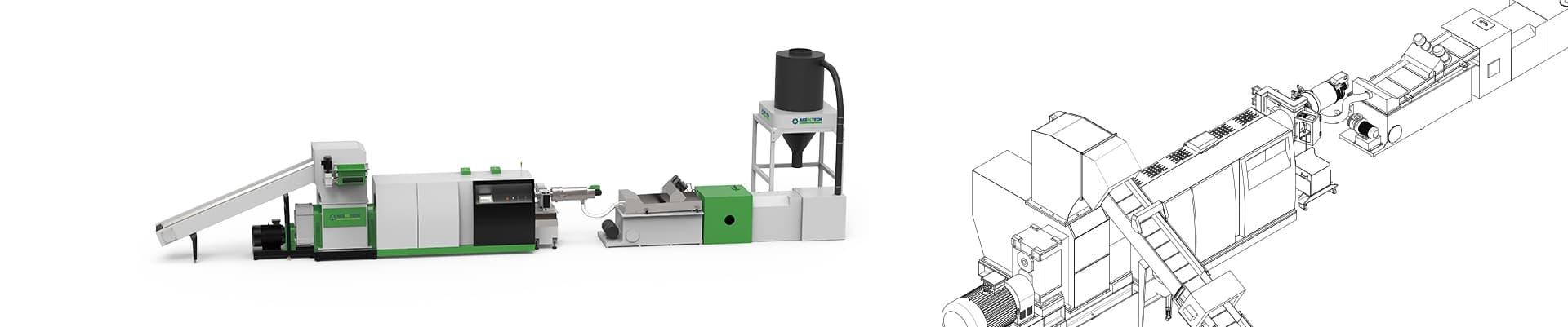ASP Mini Shredder Extruder Recycling Pelletizing System